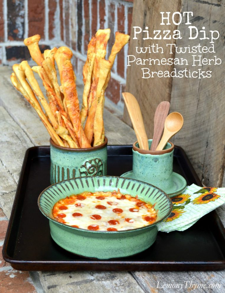 Pepperoni Pizza Dip with Twisted Parmesan Herb Breadsticks