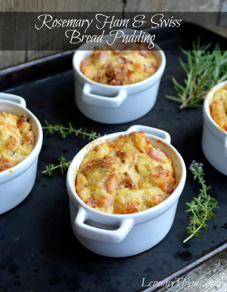 Rosemary Ham & Swiss Savory Bread Pudding | LemonyThyme.com