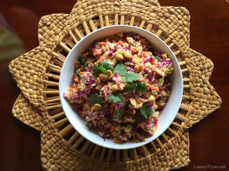 Thai Cauliflower Rice Salad {with Spicy Peanut Sauce}1