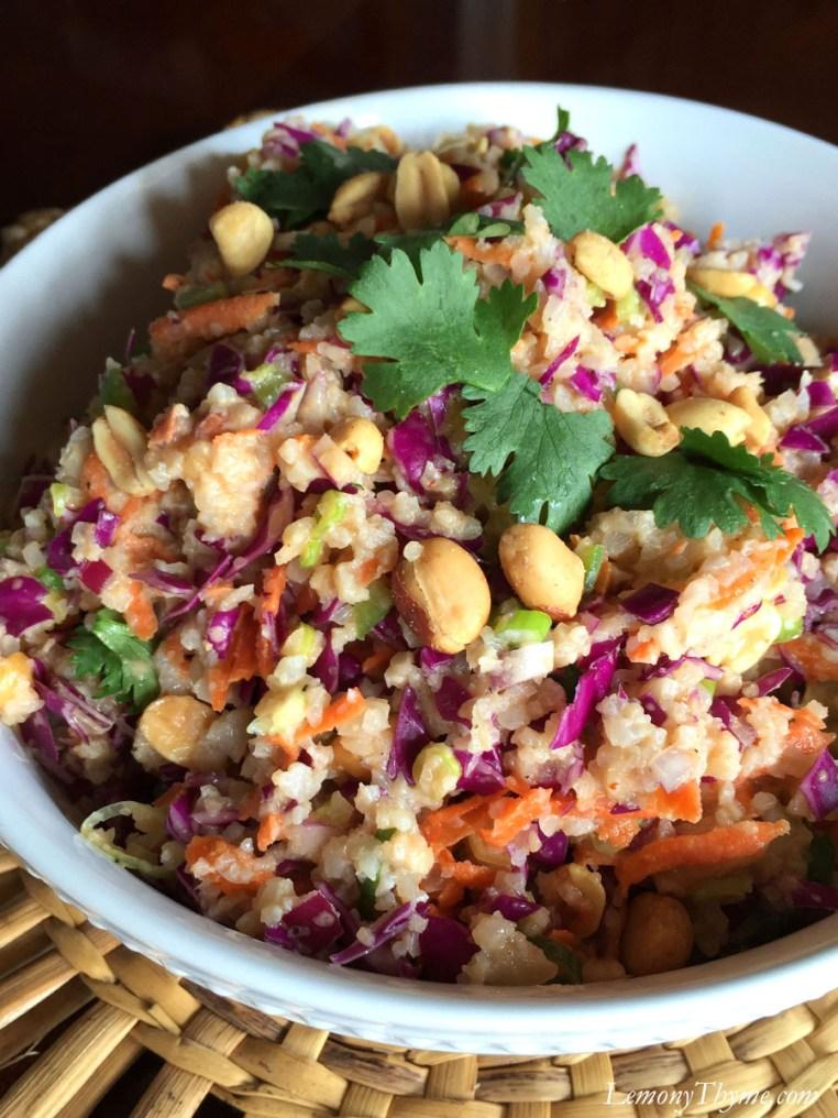 Thai Cauliflower Rice Salad {with Spicy Peanut Sauce}2