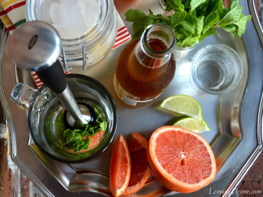 Red Grapefruit Mojito with Vanilla Simple Syrup Ingredients sitting on a silver tray.