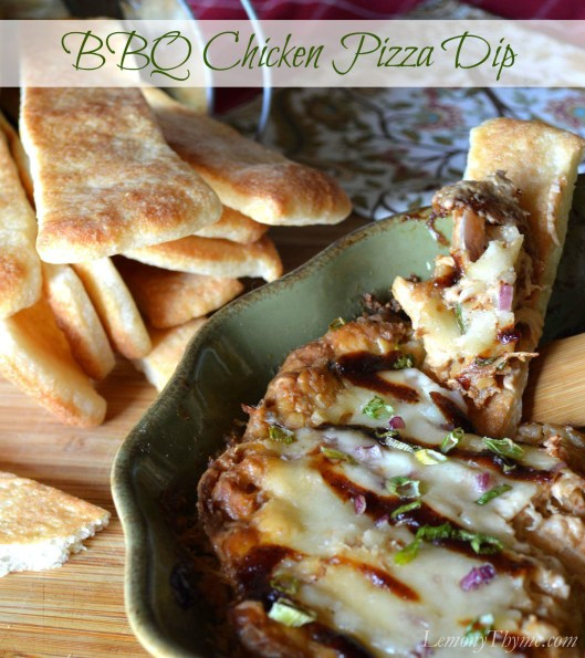 BBQ Chicken Pizza Dip | LemonyThyme.com