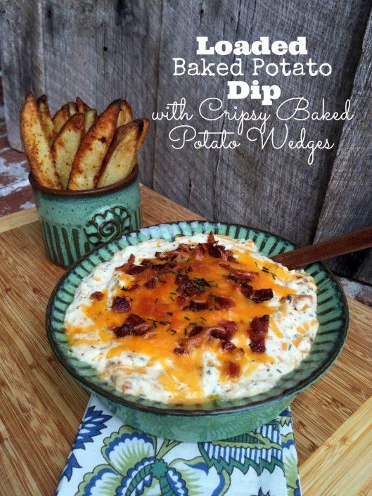 Loaded Baked Potato Dip with Crispy Baked Potato Wedges   LemonyThyme.com