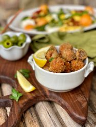 Golden Deep Fried Stuffed Olives with Sausage