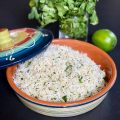 Perfect Cilantro Lime Rice tucked up your sleeve. Served in a beautiful covered pottery dish.