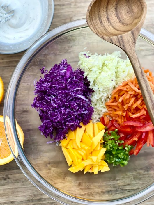 Colorful Caribbean Coleslaw Ingredients in a glass bowl