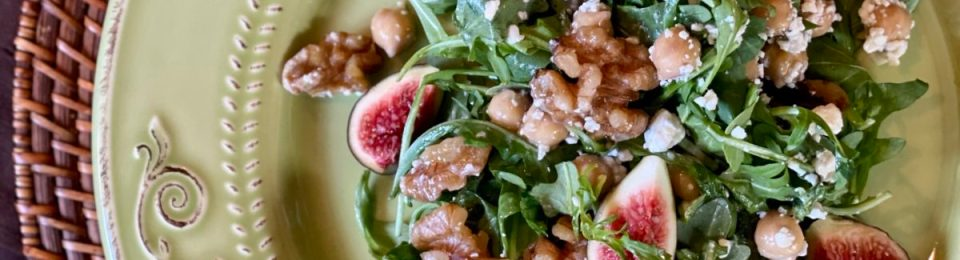 Overhead view of Fig and Walnut Arugula Salad with Chickpeas and Gorgonzola
