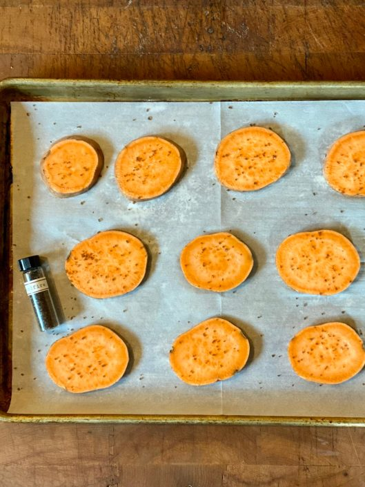 Sweet potato rounds for making a variety of gluten recipes.