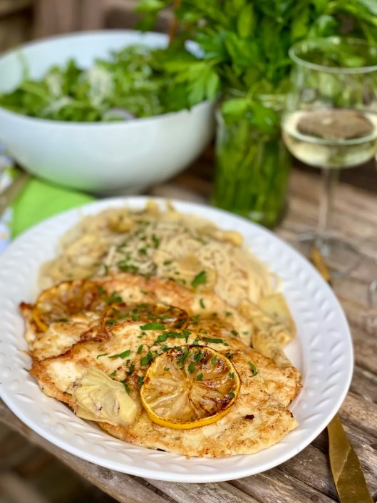 Chicken Francaise cutlets with lemon and Artichoke Hearts