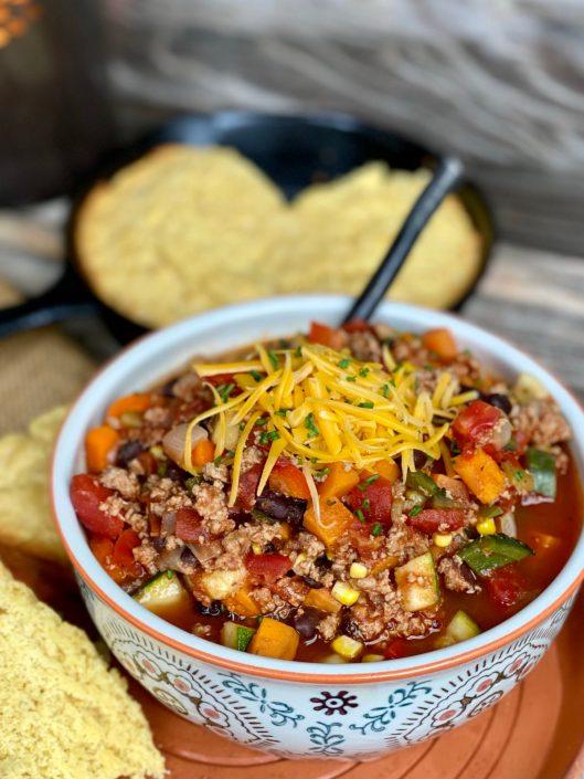 Turkey & sweet potato southwest chili with cornbread