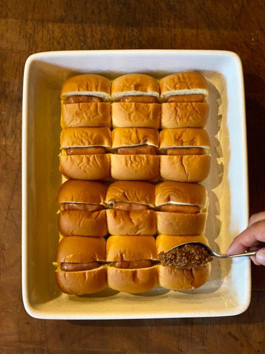 Chili Cheese Dog Tailgate Sliders Step 3