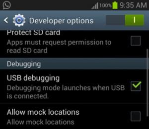 turn on usb debugging