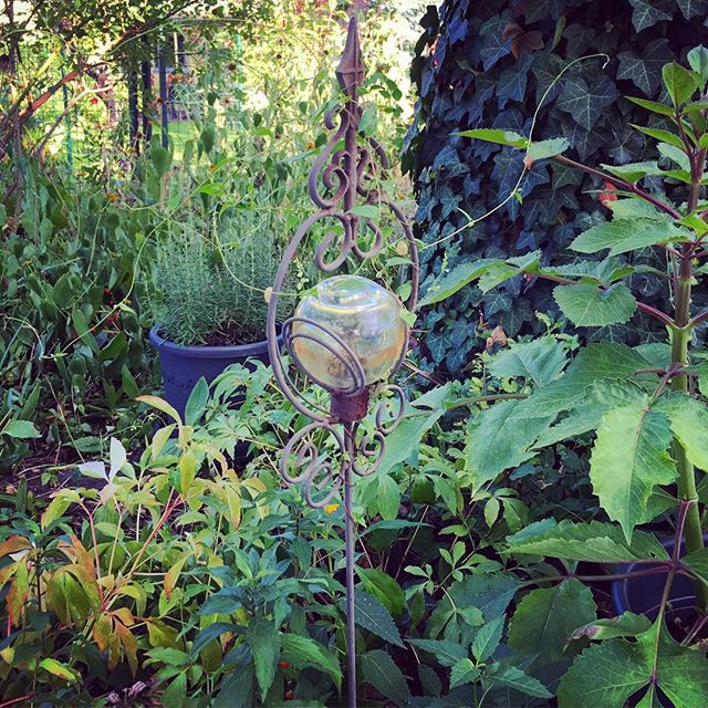 "This ""crystal ball"" came with the garden. Picture from last month when things were still green."