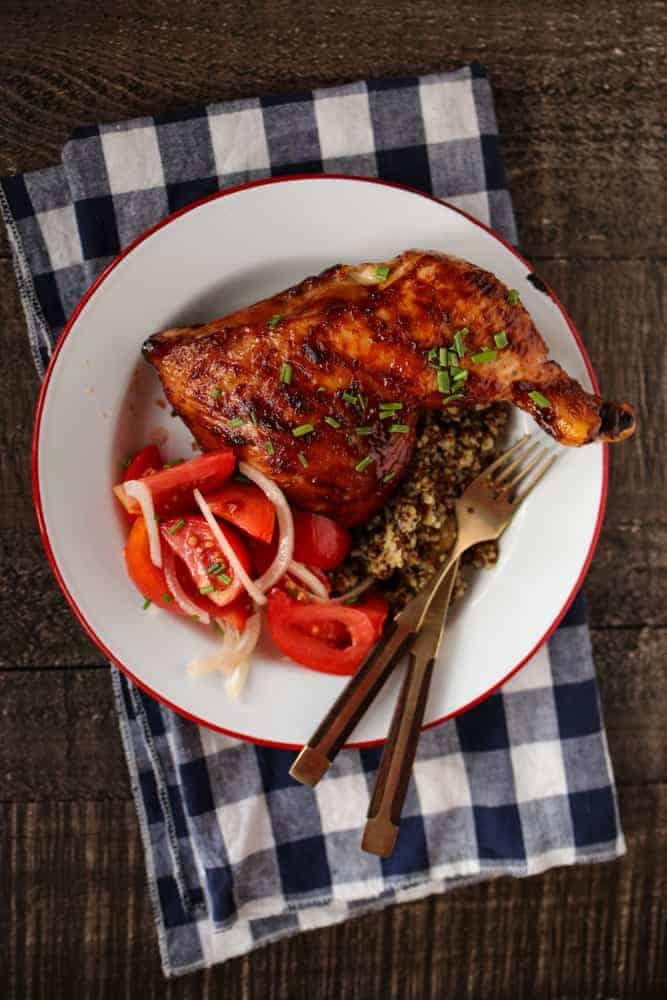 BBQ CHICKEN QUARTERS WITH QUINOA & SALAD