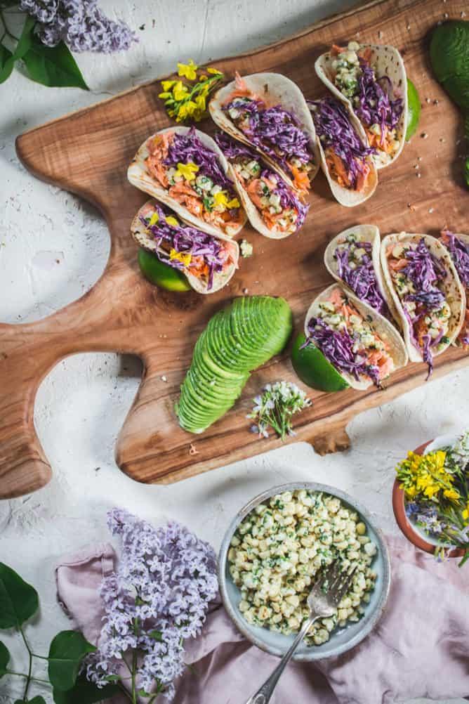 delicious salmon tacos