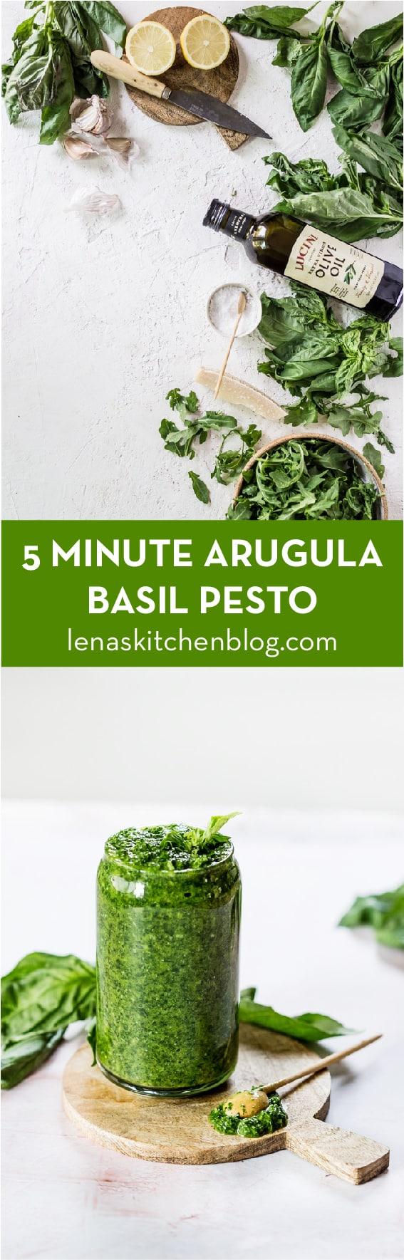 5 MINUTE ARUGULA BASIL PESTO made with cheese, garlic, olive oil and salt by lenaskitchenblog.com