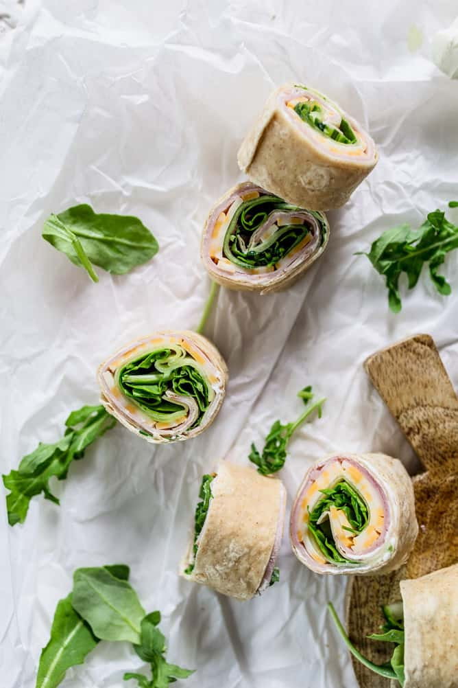 cream cheese wrap with meat, cheese, veggies by lenaskitchenblog.com