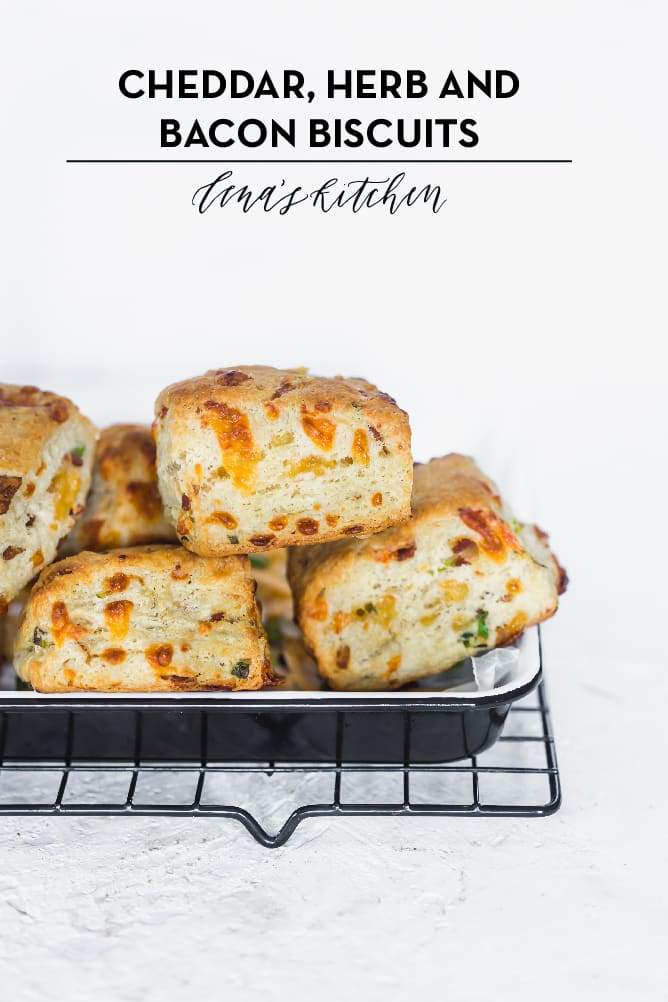 Flaky, buttery, crispy on the outside and fluffy on the inside packed with CHEDDAR, HERB AND BACON BISCUITS. The perfect start to any morning. lenaskitchenblog.com #biscuits #buttermilkbiscuits #baconbiscuits #cheddarbiscuits