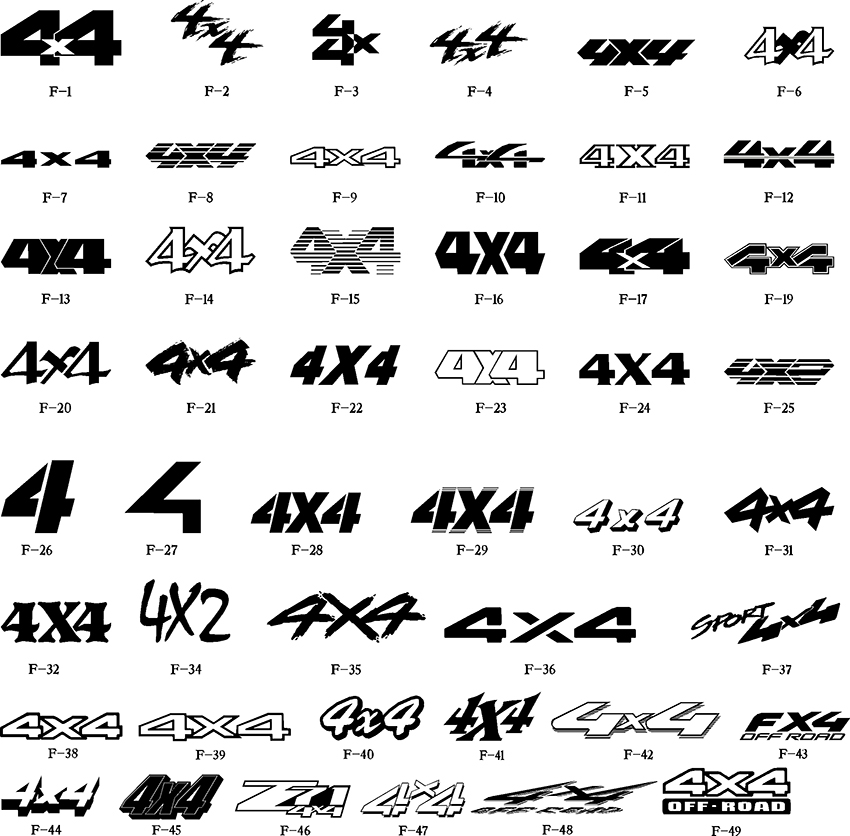 new 4x4 printed decals