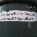 personal ad on a lamp post by someone looking for a sub.