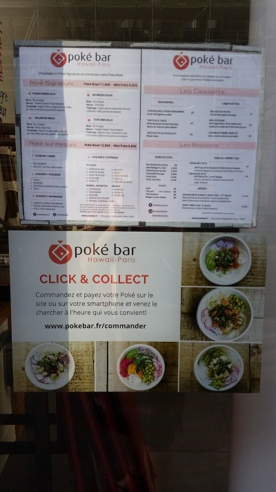 The Menu of the Poke bar with photos of their bowls