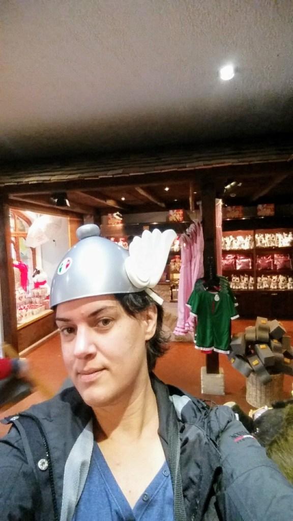 Verena wearing a plastic helmet with wings