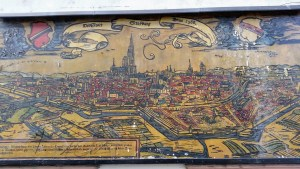 A mural of what Strasbourg looked like in 1588.