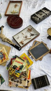 A crucifix, a display box with dead scorpions and a pile of old magazines on a white cloth