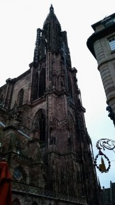 a badly lit picture of Strasbourg cathedral from too close