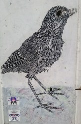 street art of a bird with patterned feathers