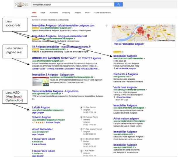 Exemples de résultats de recherche Google - Référencement naturel et liens sponsorisés