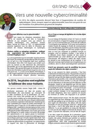 Interview de Denis JACOPINI, expert informatique assermenté spécialisé en cybercriminalité, dans la revue Grand Angle - Vers une nouvelle cybercriminalité