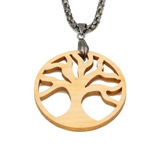 Amulett Baum des Lebens Zirbe/Chrom