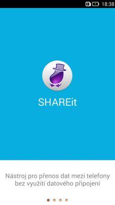 úvodní obrazovka SHAREit