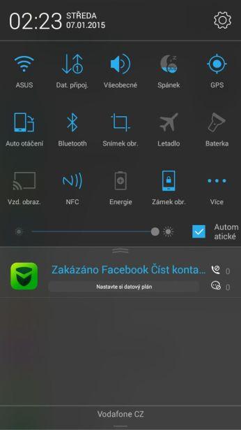notifikační lišta + přepínače