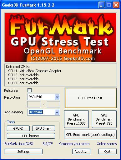 Zde zvolíme položku GPU Stress Test