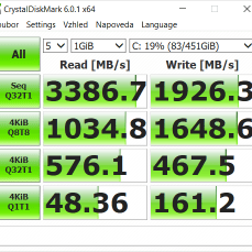 CrystalDiskMark, výkon SSD disku.