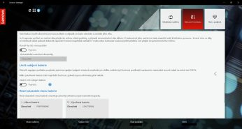 Prahy nabíjení naleznete v kartě Napájení v aplikaci Lenovo Vantage.