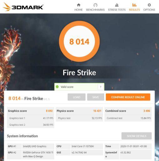 ThinkPadX1ext3 3DmarkFire