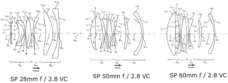 New Patents: Tamron SP 28mm/ 50mm/ 60mm F2.8 VC lens
