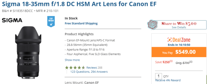 Hot Today's Deal: Sigma 18-35mm F1.8 DC HSM Lens for $549