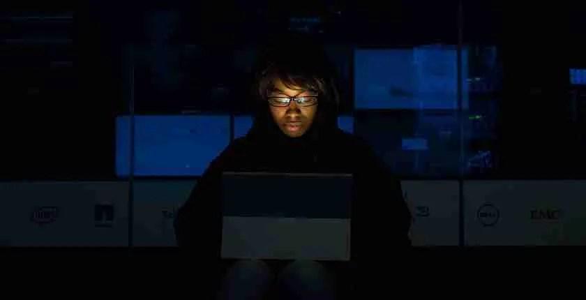 Woman login or logon to computer