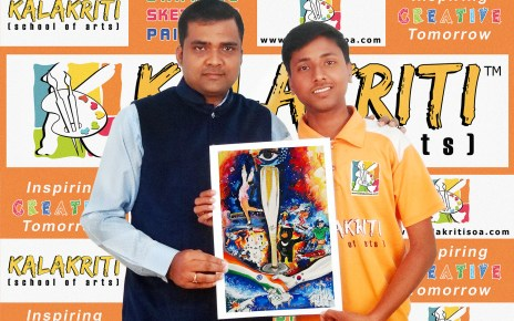Akashdeep won second prize in painting competition in national level
