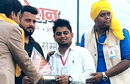 Suraj jhandai of gurunanak sewak jatha felicitated for extra ordinary work in the feild of blood donation