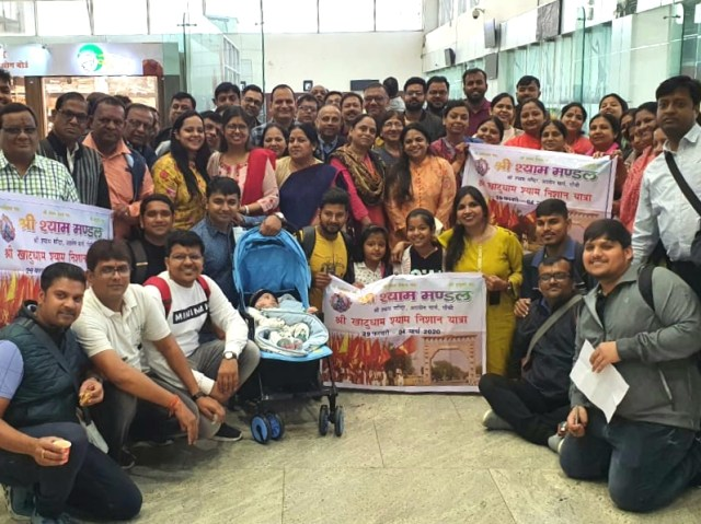 A delegation of sri shyam Mandal departed via air route through delhi to khatu dham