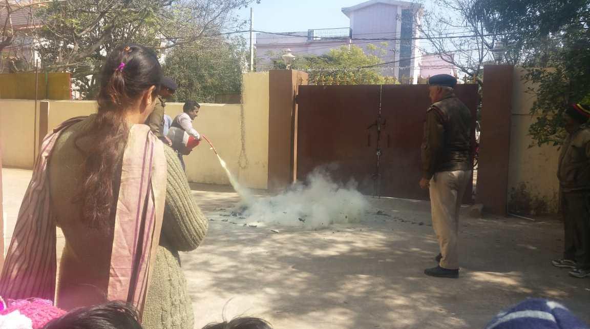 Fire safety mock drill in Pragya Gurukul