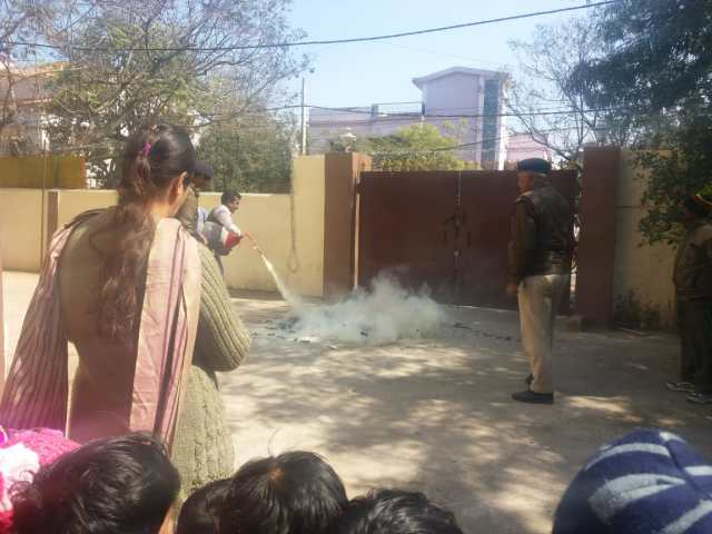 Fire safety mock drill in Pragya Gurukul