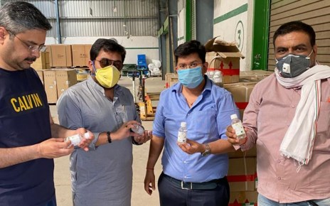 Corona epidemic : chamber provided senitizer and face mask in various city based medical shops