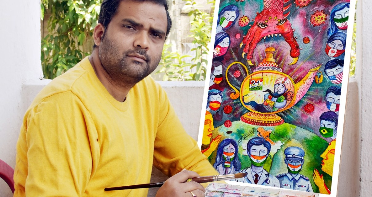 City based artist requested people to be in home through his painting