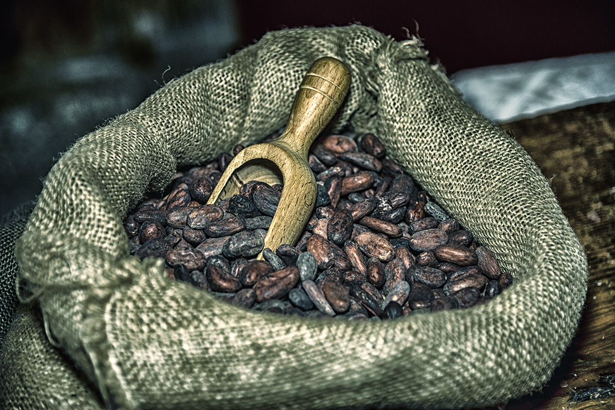 Foodfotografie Kakaobohnen im Juten Sack
